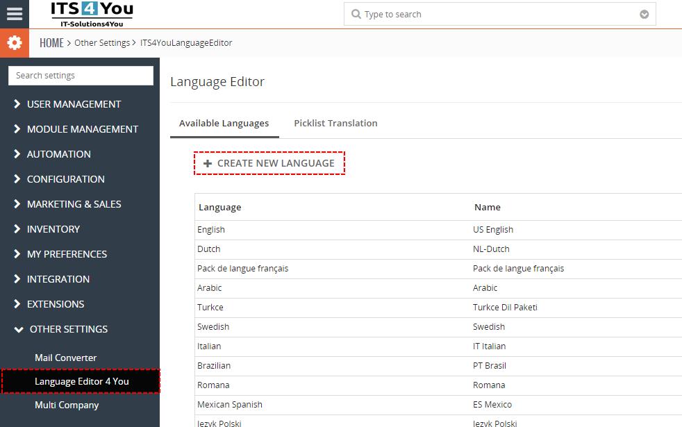 Pridanie nového jazyka do CRM