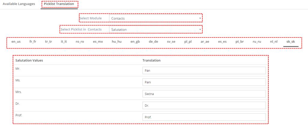 Preklad výberového menu