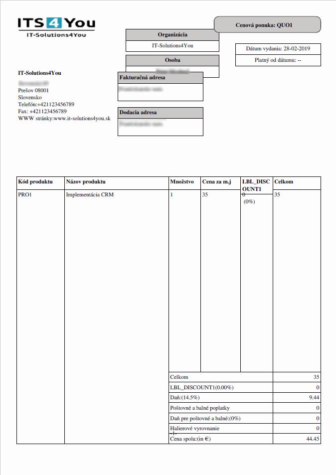 Štandardný export do PDF vo Vtiger CRM