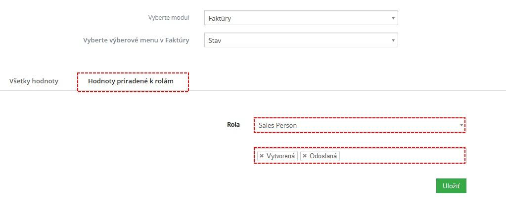 Výberové menu vo Vtiger CRM