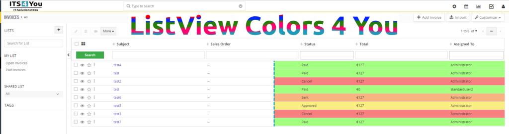 Listview Colors pre Vtiger CRM intro