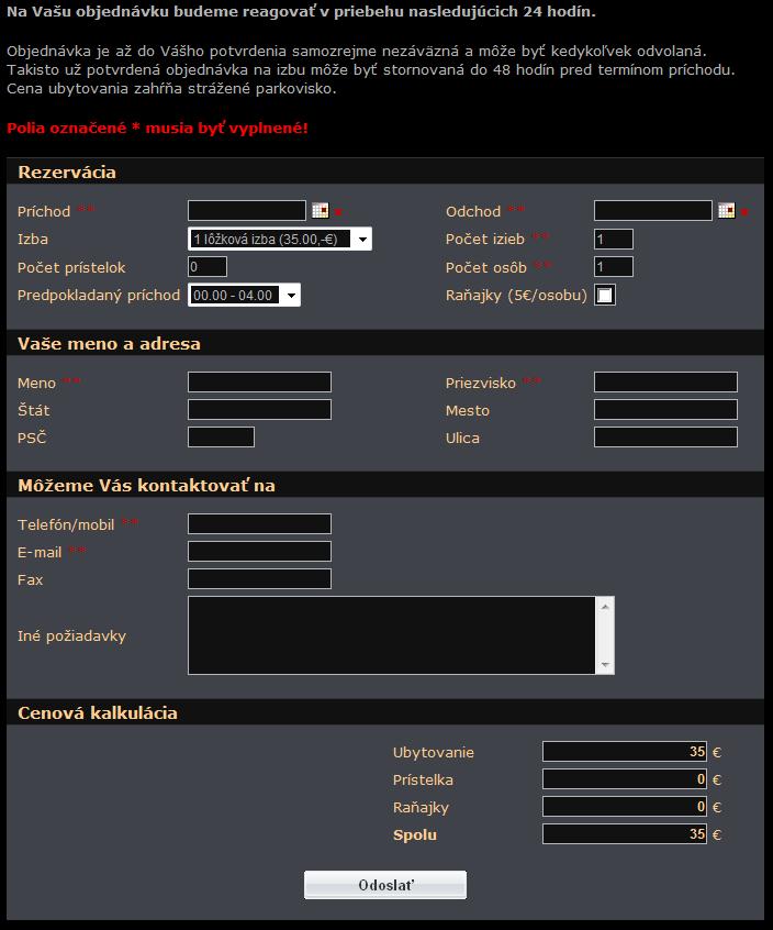 CRM Rezervacia formulár