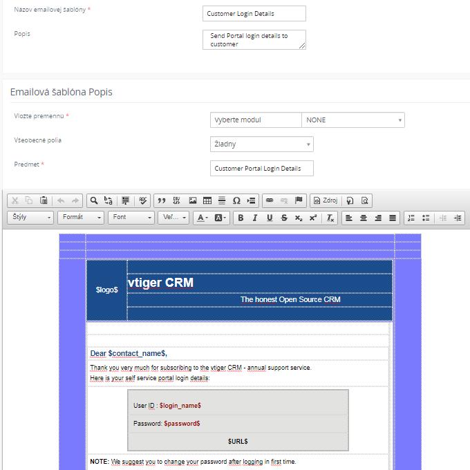 Úprava notifikácie v CRM systéme